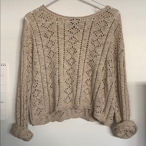 oatmeal body open knit crop sweater